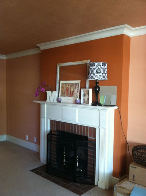 salmon pink, paint, home improvement, living room, mantel