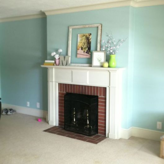 salmon pink, paint, home improvement, living room, mantel, aqua paint, aqua